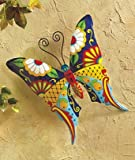 Stylish Metal Wall Art - Sturdy Metal Construction with Butterfly Dragonfly or Gecko Motive for Garden or House Wall - Painted Colorful Decoration, Easy to Hang Up Perfect Gift (Butterfly)