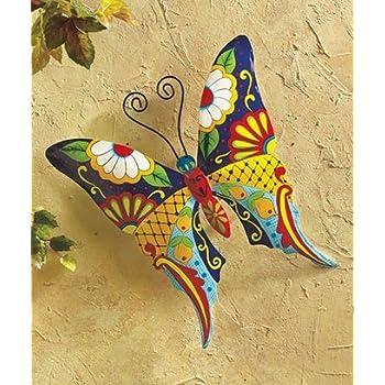 Amazon.com : Colorful Metal Mexican Talavera Style Garden Wall Art ...