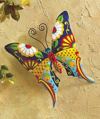 (Stylish Metal Wall Art - Sturdy Metal Construction with Butterfly Dragonfly or Gecko Motive for Garden or House Wall - Painted Colorful Decoration, Easy to Hang Up Perfect Gift (Butterfly))