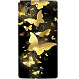 Casotec Golden Butterfly Pattern Design Hard Back Case Cover for Micromax Canvas Nitro 2 E311