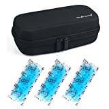 Insulin Cooler Bag Diabetic Organizer Medical Travel Cooler Pack with 3 Ice Pack (Black)