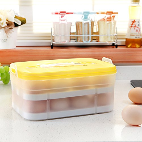 Luffar 2 Layers with Handle Plastic Egg Storage Container fo