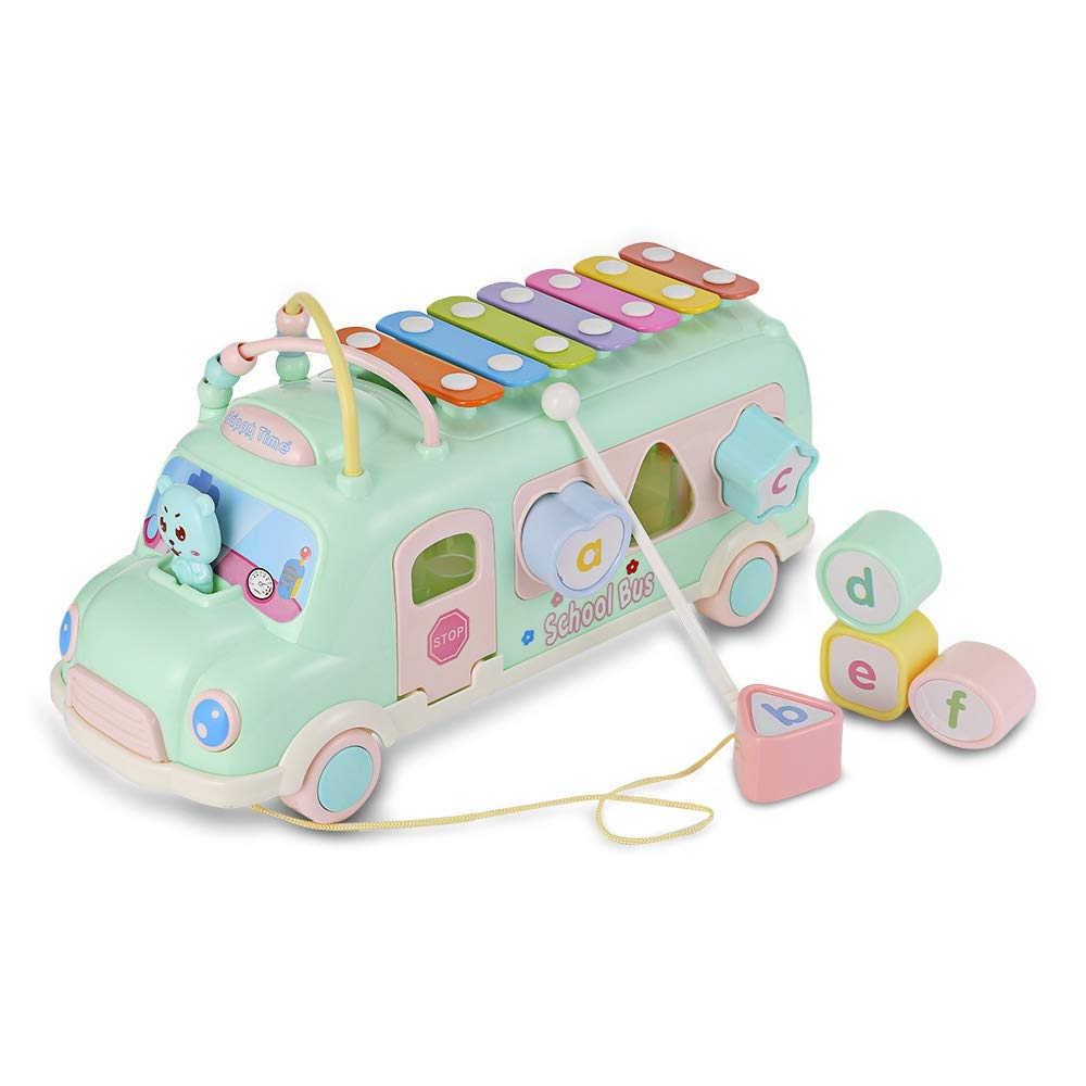 AODD Music school bus toy, Musical Toddler Toy, Piano Beads Blocks Matching, Learning Educational Toys, 7 notes, play blocks, or pull the car around, Suitable for kids Early Educational Toys (blue)