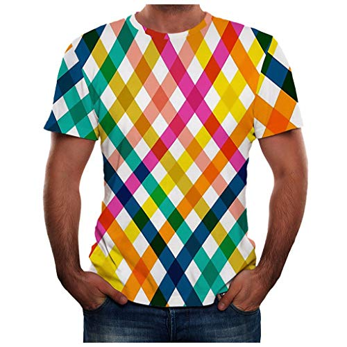 Forwelly Mens Summer New Full 3D Multicolor Stripes T Shirt Plus Size S-3XL Cool Printing Top - Stripe Multi Color Jersey Polos
