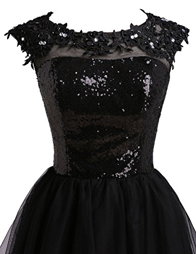 Fanciest Kurz Black Kleider 2016 Homecoming Sequin Damen Party Dresses Black Tulle 44xwqRO1