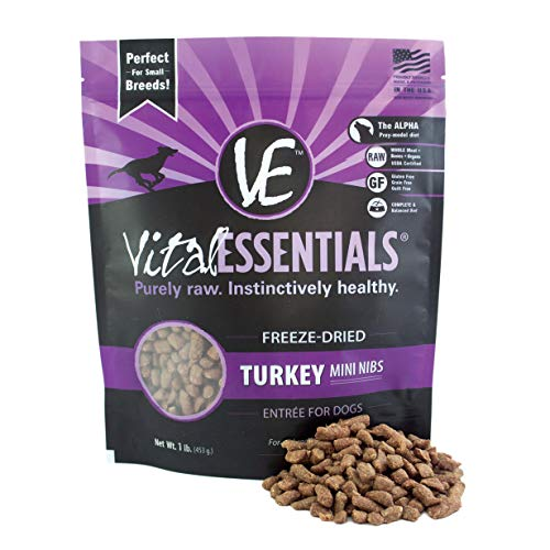 Freeze Dried Buffalo - Vital Essentials  Freeze-Dried Turkey Mini Nibs Grain Free Limited Ingredient Dog Food, 1 Pound Bag