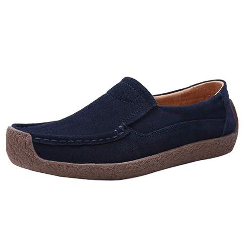 Gtagain Mocasines Loafers Conducción Zapatillas Redondos - Mujer Plano Gamuza Cuero Al Aire Libre Casual Trabajo Caminar Calzado de Barco Zapatos: ...
