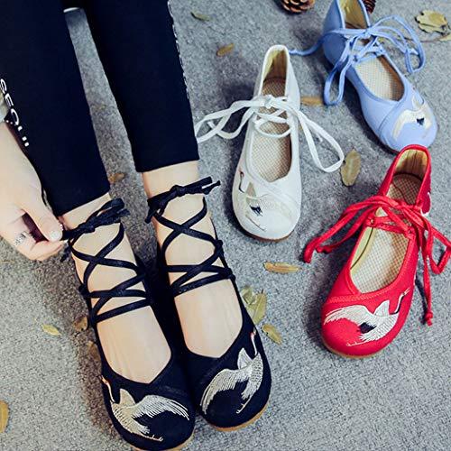 De Moda Tal Zapatos Zapatos Transpirable Plano Tela Bajo Elegante XHX Bordado De 5CR7w6q6n
