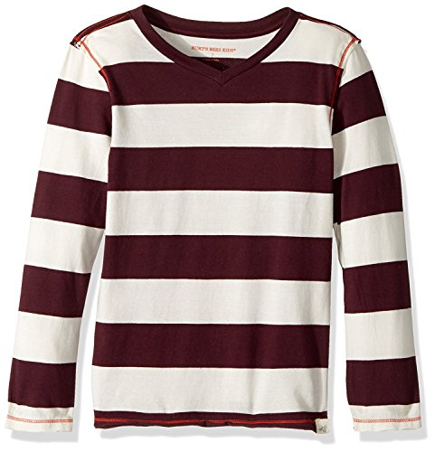 Burt's Bees Kids Little Boys' Organic Long Sleeve Reverse Seam High V Tee Shirt, Deep Autumn Rugby Stripe, 5 (School Rugby Shirt)