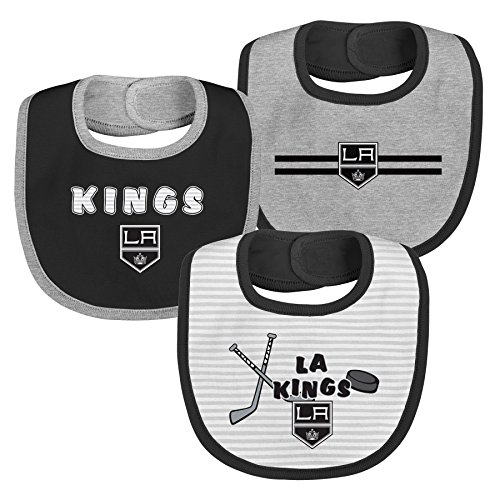 NHL Los Angeles Kings Layette Newborn Fair Catch Bib Set (3 Piece), One Size, Black (Bib Sports Hockey)