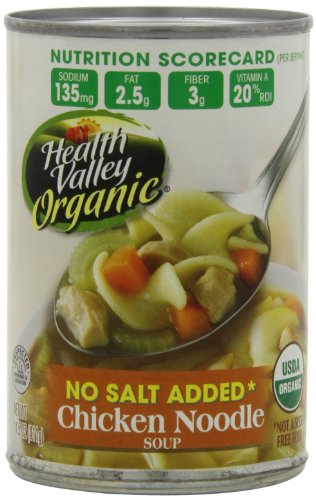 Health Valley Organic No Salt Added Soup, Chicken Noodle, 14.5 Ounce (Pack of 12) (Sodium Chicken Soup Low)