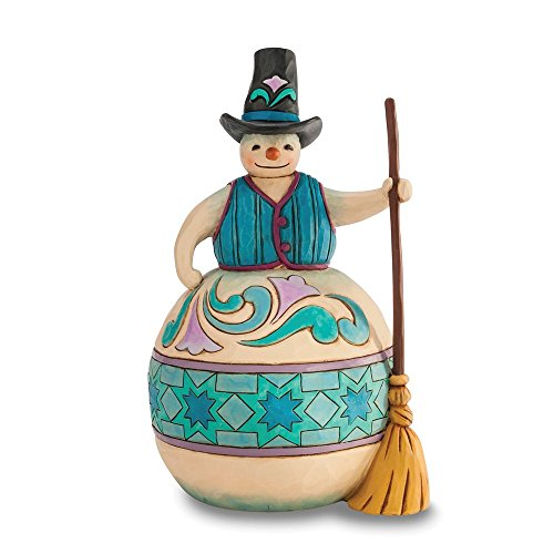 Jim Shore Snowman with Top Hat and Broom Figurine