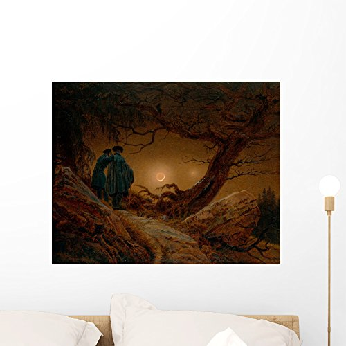 Wallmonkeys Two Men Contemplating The Moon Caspar David Friedrich Wall Decal Peel and Stick Graphic WM200057 (24 in W x 19 in H)