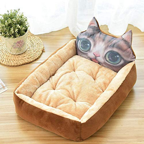 Brown 3D cat M Pet supplies cartoon pet nest teddy golden retriever dog bed dog mat kennel cat litter, brown 3D cat M