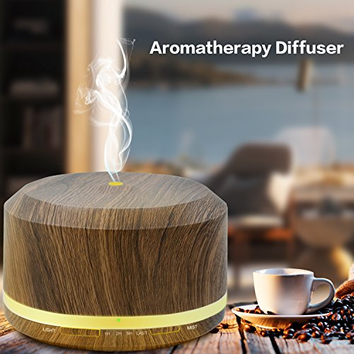 450ml Diffusers for Essential Oils, Wood Grain Aromatherapy Cool Mist Air Humidifier with 8 Color LED Lights for Home Bedroom Office by Doukedge(2 Pack) by Doukedge (Image #2)