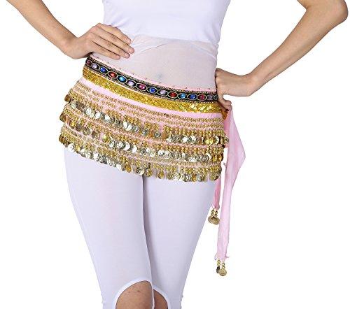 Velvet Hip Scarf Belt Skirt Belly Dance Class Colorful Jeweled Trim Coins