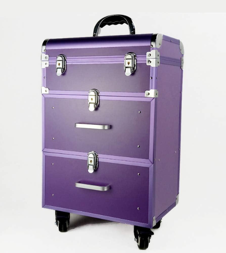 BYCDD Valise de Maquillage Professionnel Valise /à Cosm/étique avec roulettes pivotantes D/éplacement Portable Trolley /à Maquillage,Purple