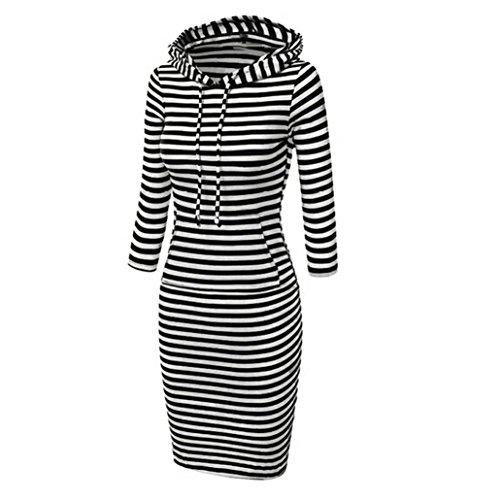 FEITONG Mujer Casual Vestir Manga larga Capucha Saltador bolsillos Algodón vestido Negro B