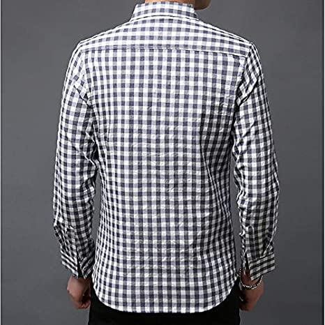 Plaid Shirt Collar IYFBXl Mens Asian Size Cotton Shirt