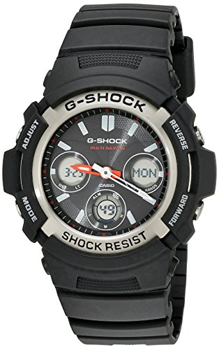 Casio Men's G-Shock AWG-M100-1ACR Tough Solar Atomic Black Resin Sport Watch ()