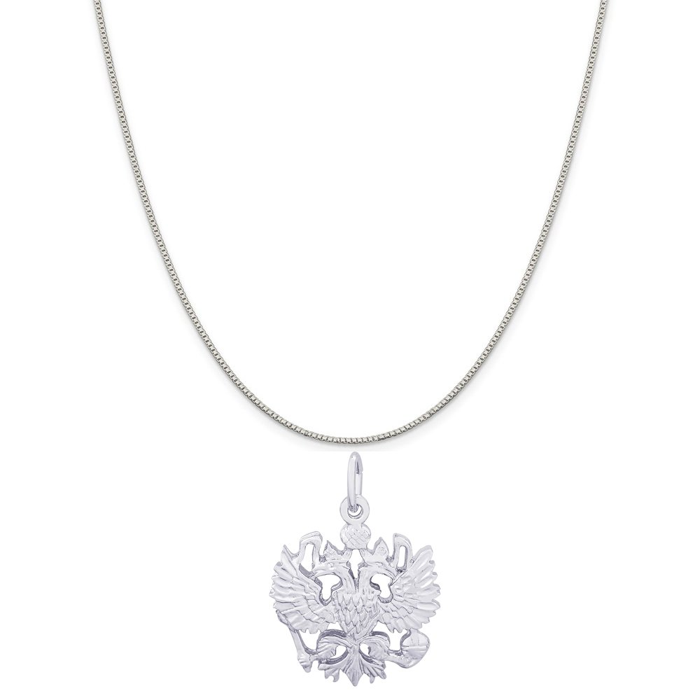 Rembrandt Charms 14K White Gold Russian Eagle Charm on a 14K White Gold Box Chain Necklace, 20''
