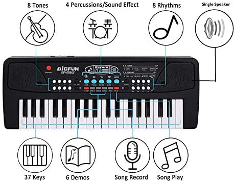 divine man Electronic Piano Keyboard for Beginners with 37 Keys and with Microphone dc Power Option Recording Musical Toy -Black