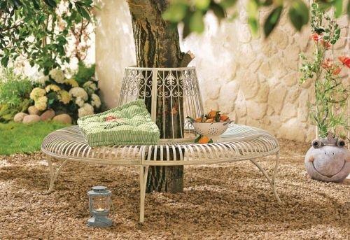 Kasandria® Gartenbank Rund Metall Altweiß | Garten Möbel | Outdoor Möbel | Gartenlunge