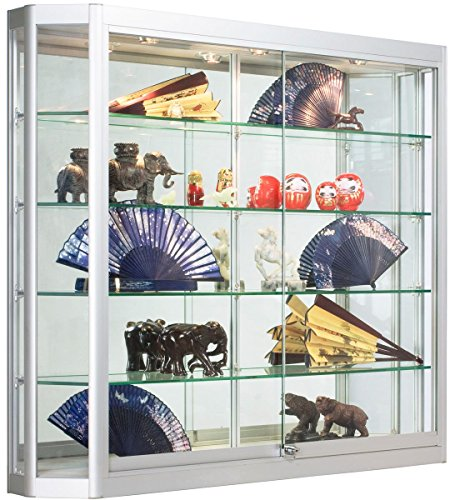 Displays2go Wall Mounted Glass Retail Cabinet with Lighti...