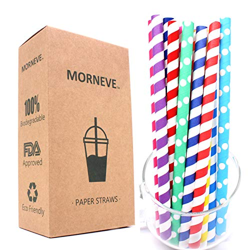 Smoothie Jumbo Bubble Boba Tea Paper Straws Biodegradable Super Wide, Compostable Disposable Drinking Straw Wrapped in Bulk Milkshake for Yeti Tumblers Party Bpa Free Striped 10mm 0.4 in 7.75'' 70pcs