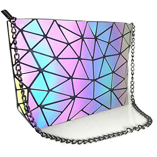 HotOne Geometric Luminous Purses and Handbags Shard Lattice Eco-friendly Leather Holographic Purse (Chain Shoulder Bag)