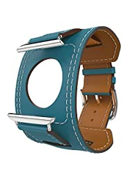 Apple Watch Band Series 1 Seris 2, MoKo Genuine Leather Smart Watch Band Cuff Strap Replacement for 42mm Apple Watch Models, Peacock BLUE (Not Fit 38mm Versions)