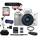 Canon EOS M50 Mirrorless Digital Camera with 15-45mm Lens Video Creator Kit - White (USA Warranty) Bundle, Includes: 32GB SDHC Class 10 Memory Card + Full Size Tripod + Spare Battery + more