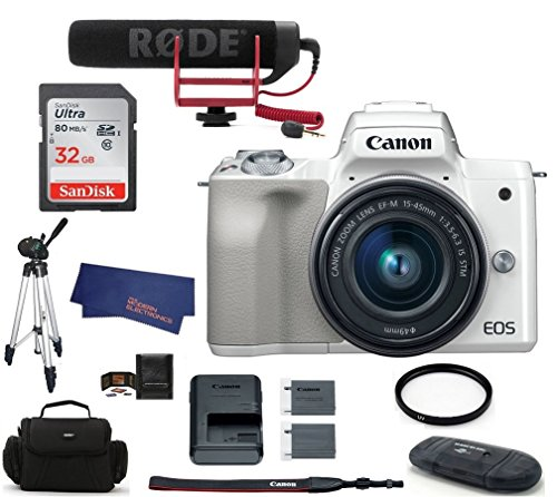 Canon EOS M50 Mirrorless Digital Camera with 15-45mm Lens Video Creator Kit – White (USA Warranty) Bundle, Includes: 32GB SDHC Class 10 Memory Card + Full Size Tripod + Spare Battery + more
