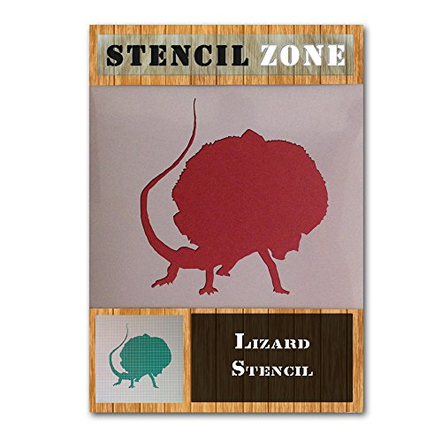 (Frilled Neck Lizard Reptile Animal Mylar Airbrush Painting Wall Art Stencil (A1 Size Stencil - XLarge))