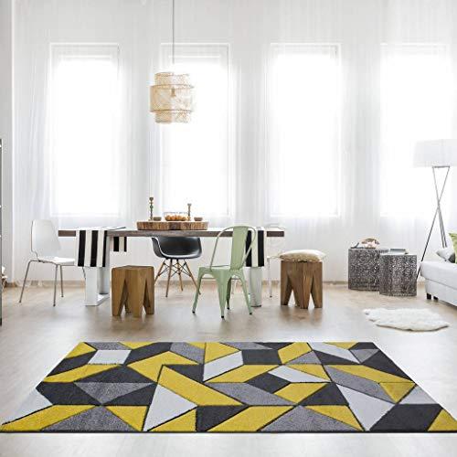 Rio Ochre Yellow Mustard Geometric Tiles Mosaic Modern Design Living Room Area Rug 3