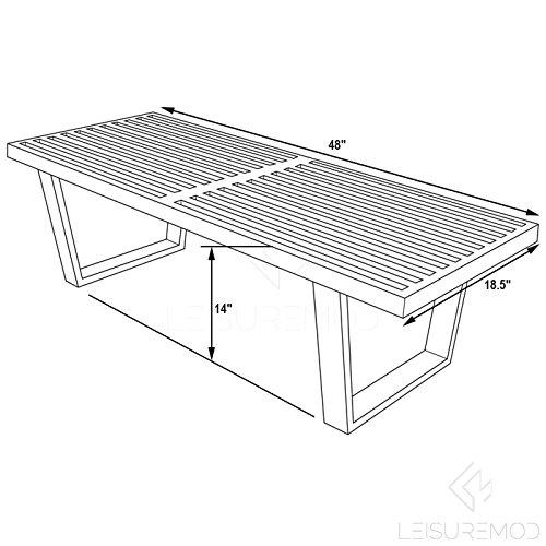 LeisureMod Mid-Century Modern Inwood Platform Wood Bench, 4', Black by LeisureMod (Image #6)