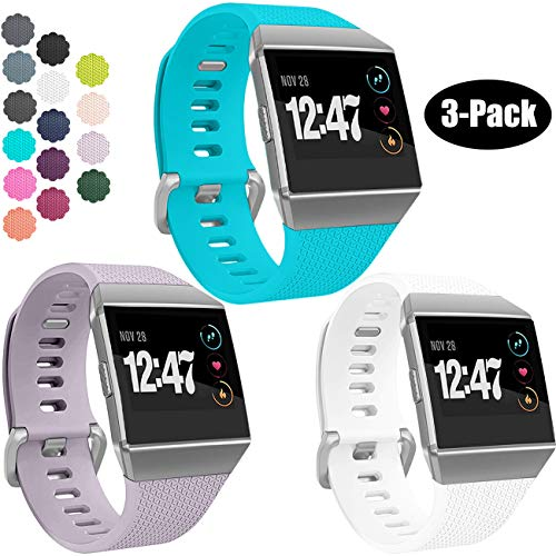 Wepro Bands Compatible with Fitbit Ionic SmartWatch, Watch Replacement Sport Strap for Women Men Kids, Small, Teal, Lavender, White