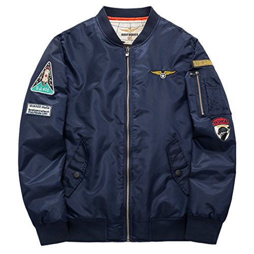 Men's Classic Stand collar USA Flag Badge MA-1 Light Weight Bomber Flight Jacket L Dark Blue