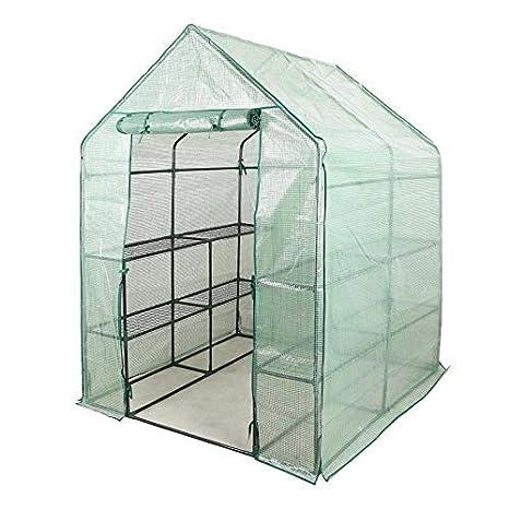 Fithalt Invernadero de Jardín Casa para Plantas Cultivos Movible con Ruedas Invernadero con Rejilla de PE
