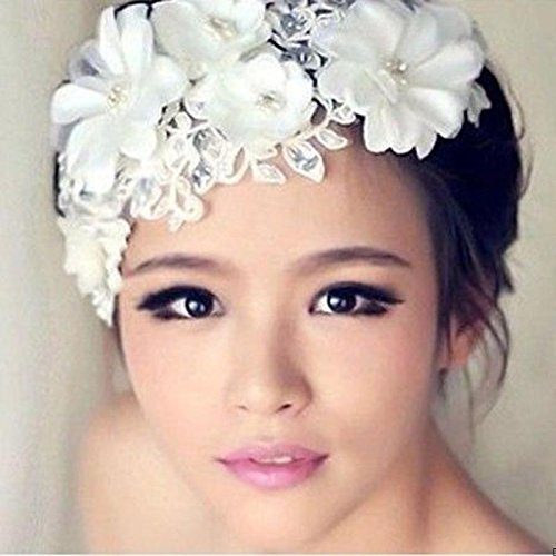 New Handmade Tiara Wedding Bridal Floral Lace Pearl Headpiece Hairpin Prom Party
