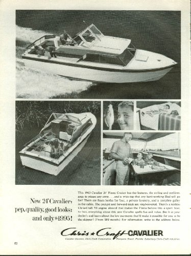 New 24' Cavalier: pep quality good looks only $4995 Chris-Craft ad 1963