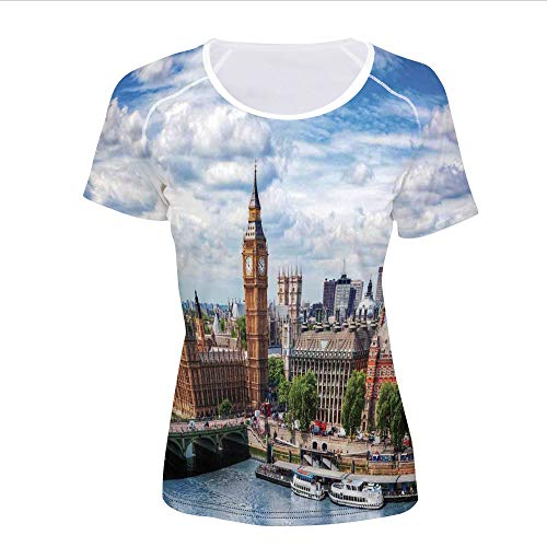 (Women's T-Shirt,Big Ben Westminster Bridge on River Thames,Pictures Print)