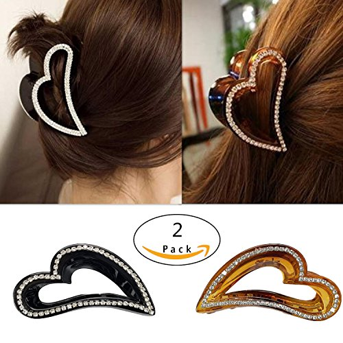 Moveagogo 2pcs Hair Accessories women Rhinestone Vintage Hollow Heart-shaped Hair Claw Clips (GHJ)