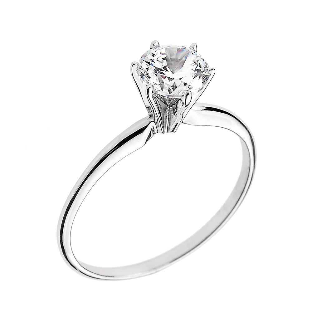 10k White Gold Elegant Cubic Zirconia Solitaire Engagement Ring (Size 9.25)