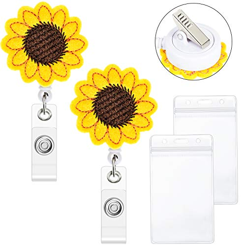 Funny Halloween Cartoon Clips (2 Pieces Sunflower Badge Reel Holder Retractable Badge Reel Clip with Alligator Clip and 2 Pieces Waterproof ID Holders for Women Nurse Teacher)