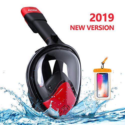 EVOLAND Snorkel Mask Full Face for Kids Youth, Diving Snorkeling Mask Anti-Fog Set with Fins, 180° View, GoPro Mount, Easy Breath Dry Top Design, Adjustable Head Straps