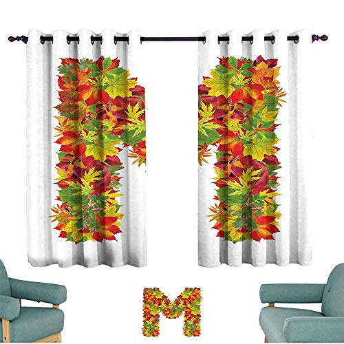 HCCJLCKS Customized Curtains Letter M Fall Season Elements Uppercase M Colored Leaves Acorns Autumn Nature Decor Curtains by W55 xL63 Vermilion Yellow Green