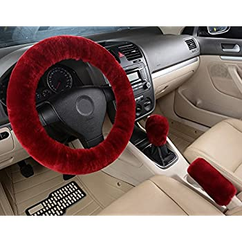amazon com dotesy 3 pcs genuine sheepskin auto steering wheel coverdotesy 3 pcs genuine sheepskin auto steering wheel cover set with gear shift knob cover handbrake
