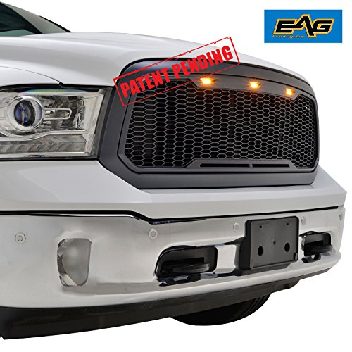 EAG Replacement Ram ABS Grille - Charcoal Gray - With Amber LED Lights for 13-18 Dodge Ram 1500