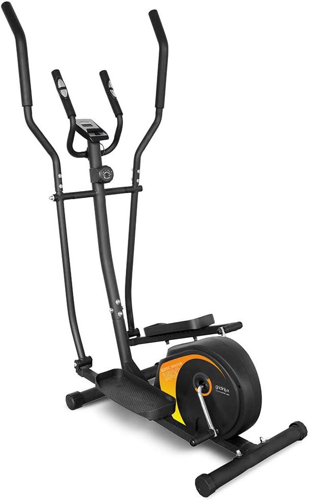 gridinlux. Trainer ELIPTIC 1500. Bicicleta Elíptica para casa Multifuncional. Doble Manillar Ergonómico, Pulsómetro, Pantalla LCD, Freno Magnético, Intensidad Regulable, 8 Niveles